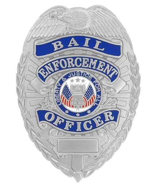 Bail Enforcement Officer-Blue Ribbon Badge (Silver)