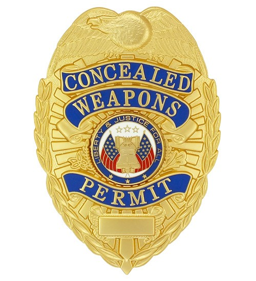 Deluxe Concealed Weapons Permit Badge Gold