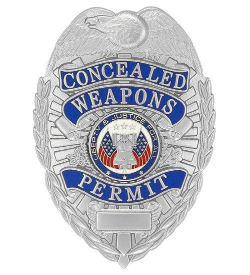 Deluxe Concealed Weapons Permit Badge Silver