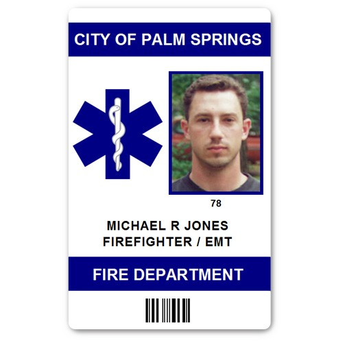 Fire Department EMT PVC ID Card in Blue