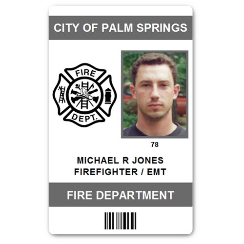 Fire Department EMT PVC ID Card in Grey