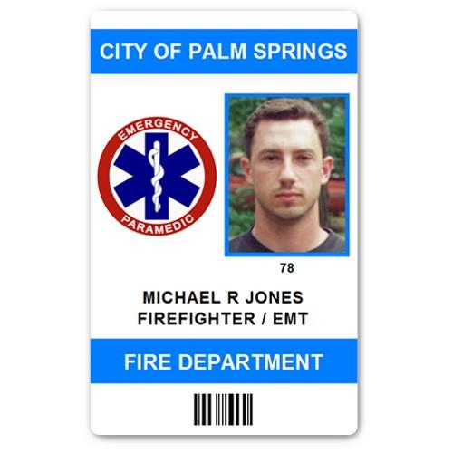 Fire Department EMT PVC ID Card in Light Blue