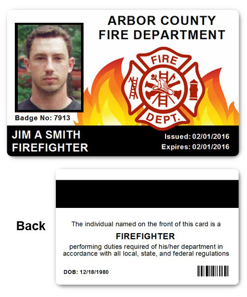 Fire Department EMS PVC ID Card in Black and Red