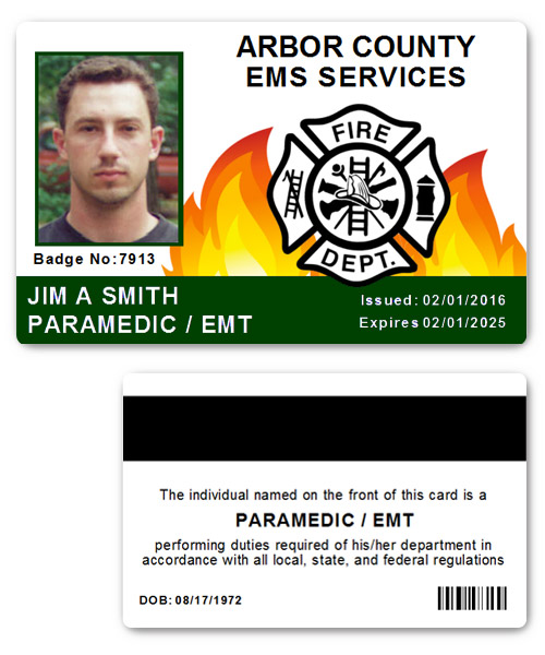 Fire Department EMS PVC ID Card in Black in Green
