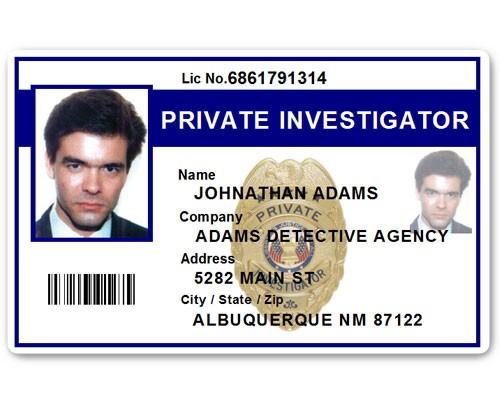 Private Investigator PVC ID Card PFP022 in Blue