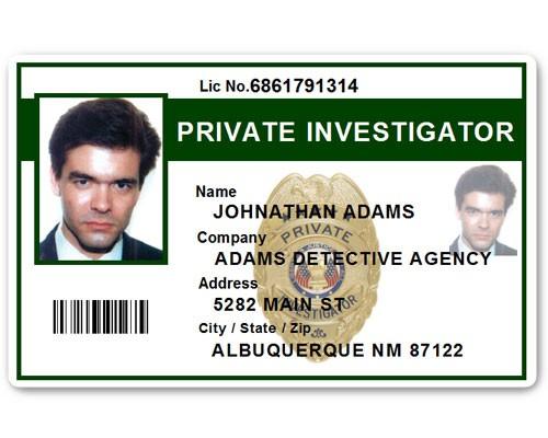 Private Investigator PVC ID Card PFP022 in Green