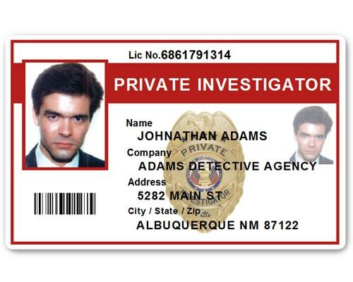 Private Investigator PVC ID Card PFP022 in Red
