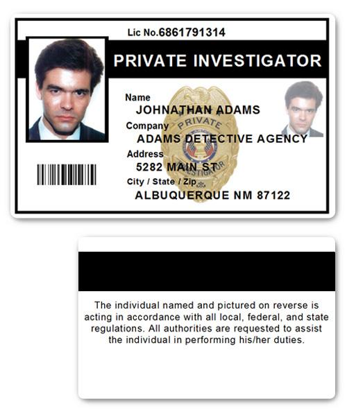 Private Investigator PVC ID Card PFP022