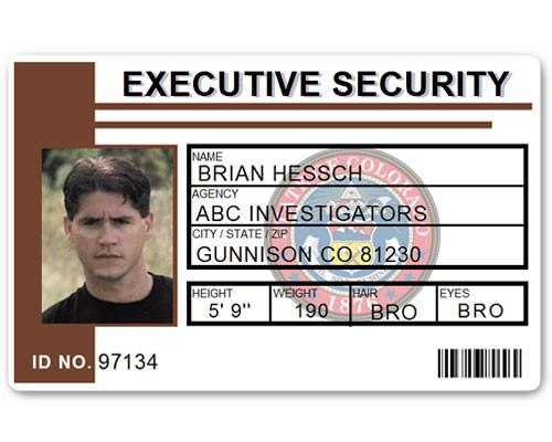 Executive Security PVC ID Card PFP023 in Brown