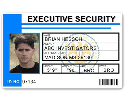 Executive Security PVC ID Card PFP023 in Light Blue