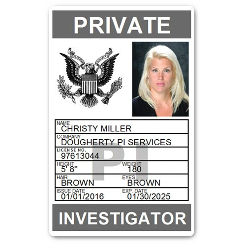 Private Investigator PVC ID Card PFP025 in Grey