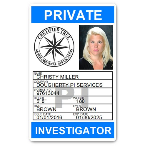 Private Investigator PVC ID Card PFP025 in Light Blue