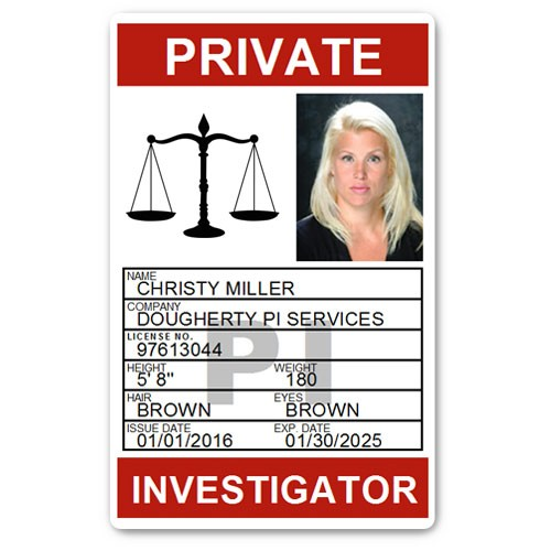 Private Investigator PVC ID Card PFP025 in Red