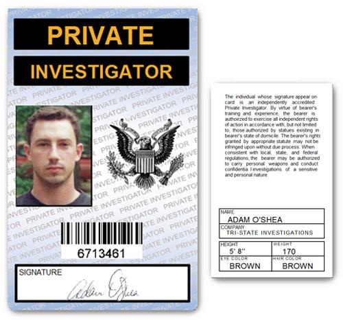 Private Investigator PVC ID Card in Blue