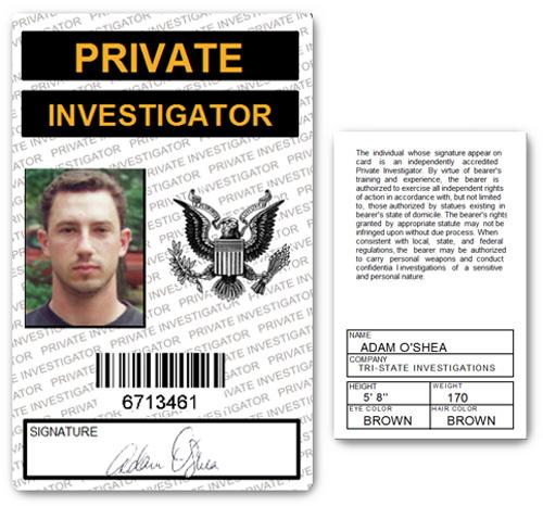 Private Investigator PVC ID Card in White