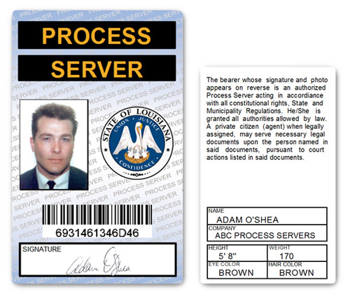 Process Server PVC ID Card in Blue