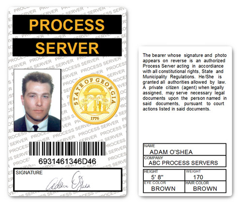 Process Server PVC ID Card in White