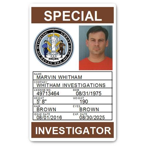 Private Investigator PVC ID Card PFP028 in Brown