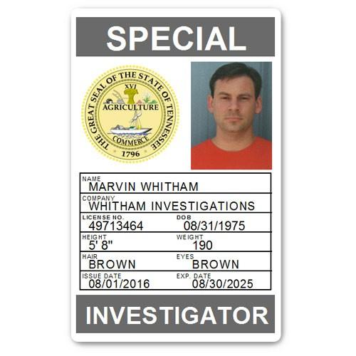 Private Investigator PVC ID Card PFP028 in Grey