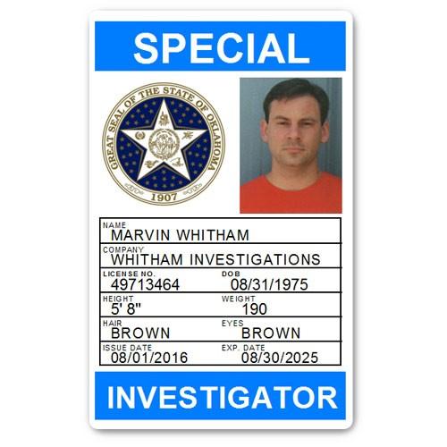 Private Investigator PVC ID Card PFP028 in Light Blue
