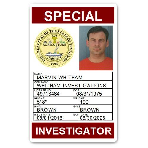 Private Investigator PVC ID Card PFP028 in Maroon