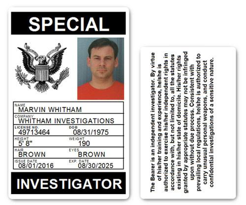 Private Investigator PVC ID Card PFP028