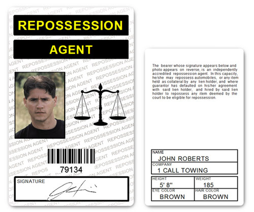 Repossession Agent PVC ID Card (white)