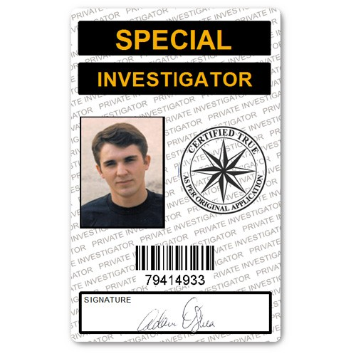 Special Investigator PVC ID Card in White