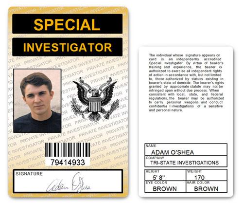 Special Investigator PVC ID Card