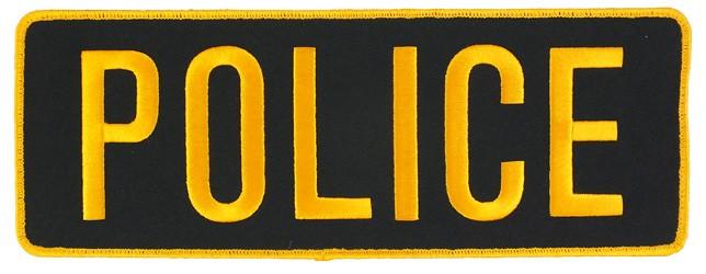 Large Velcro Police Patch (Gold on Black)
