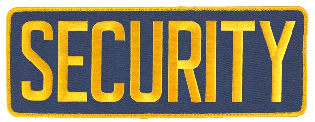 Large Velcro Security Patch (Gold on Navy)