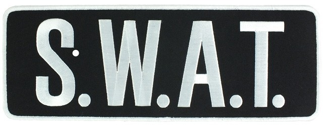Large Velcro SWAT Patch (White on Black)