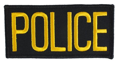 Small Police Hat or Jacket Patch (Gold on Black)