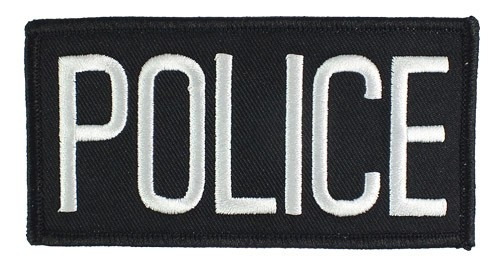 Small Police Hat or Jacket Patch (White on Black)