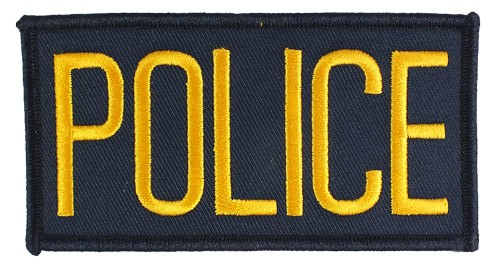 Small Police Hat or Jacket Patch (Gold on Navy)