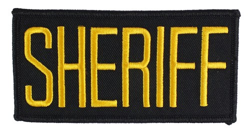Small Sheriff Hat or Jacket Patch (Gold on Black)