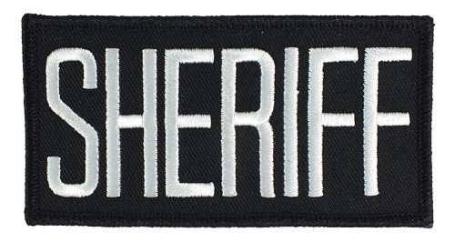 Small Sheriff Hat or Jacket Patch (White on Black)