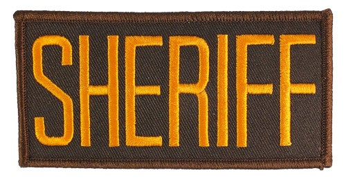 Small Sheriff Hat or Jacket Patch (Gold on Brown)