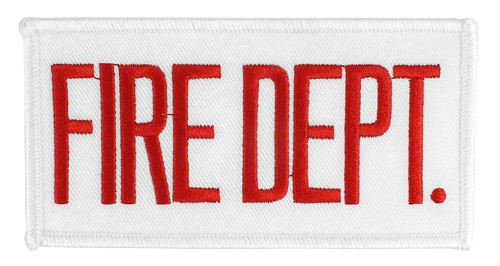 Small Fire Dept Hat or Jacket Patch (Red on White)
