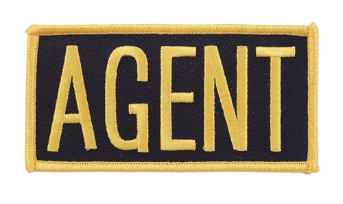 Agent Embroidered Hat or Jacket Patch in Gold