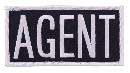 Agent Embroidered Hat or Jacket Patch in White