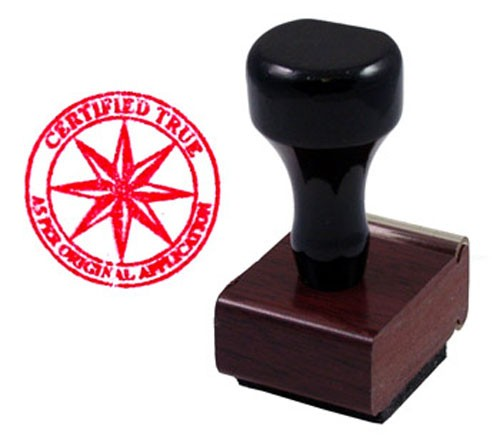 Certified True Compass Rose Rubber Stamp