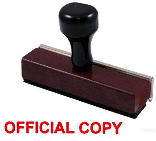 Official Copy Rubber Stamp