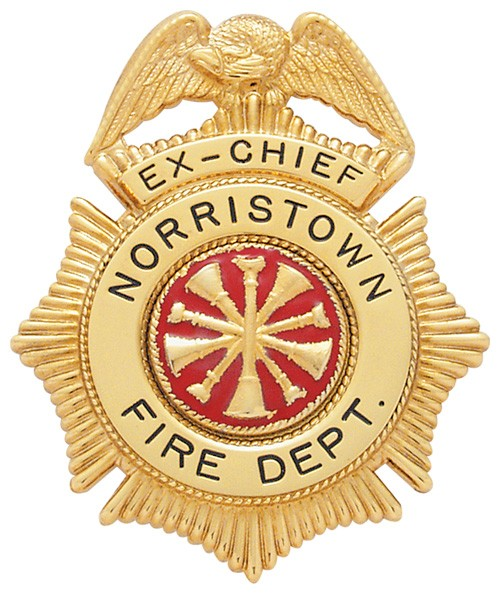 2.86 inch Eagle Top Sunburst Smith & Warren Badge S158