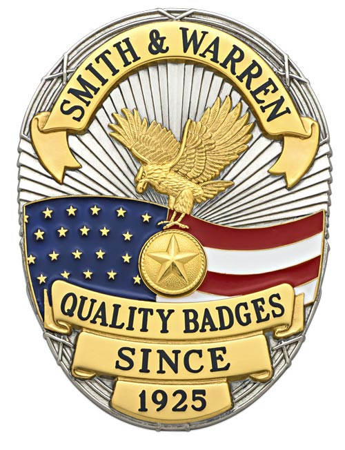 3.375 inch Oval Smith & Warren Badge S642