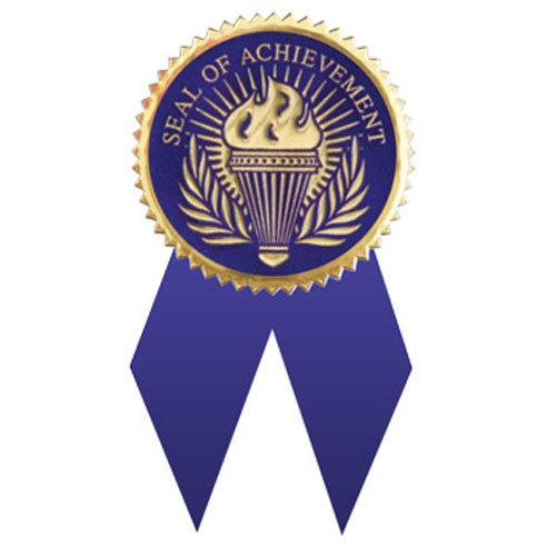 Seal of Achievement BLUE with Ribbons 12 Pcs