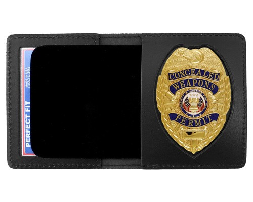 Duty Leather Book Style ID & Badge Case with Pointed Shield Cutout
