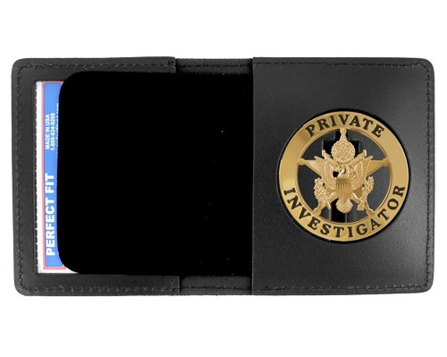 Duty Leather Book Style ID & Badge Case with 2 1/4'' Round Cutout