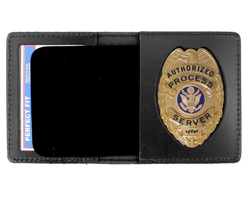 Duty Leather Book Style ID & Badge Case with Oval Shield Cutout