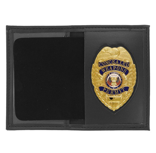 Dress Leather Book Style ID & Badge Case with Pointed Shield Cutout